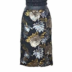 J.O.A Los Angeles Sequin Black Floral Skirt Small